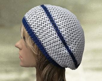 d2a2462e0c9b Cotton knit beret, Summer lace beret, Gray knit beret, Knit slouchy beret,  Knit summer beret, Womens knit beret, Light weight beret