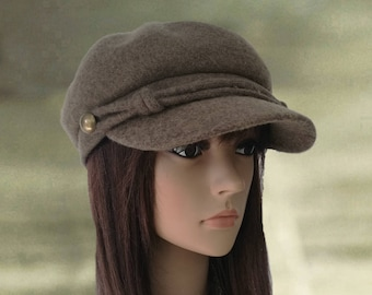 Felted wool caps Hats with visor Womens winter caps Wool 295e95683bf
