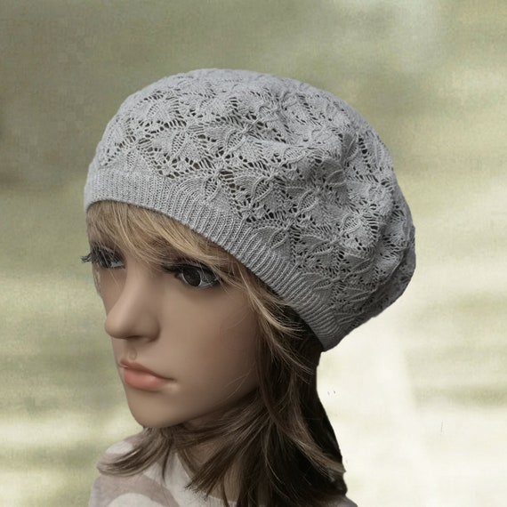 Knit cotton beret Knitted summer hat Gray beret cap Spring  8f47e6c8d7cc