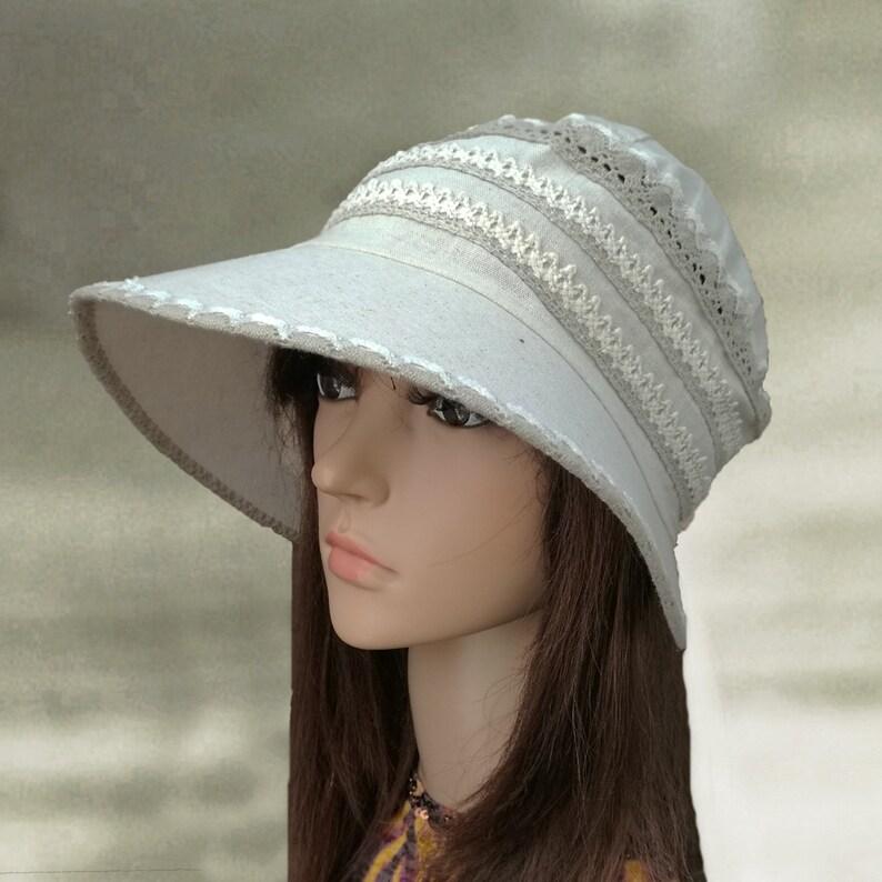 5ef188558 Sun hats cotton, Linen womens hats, Summer fabric hats, Women's sun hats,  Organic cotton hats, Sun cloche hats, Cotton lace hats, Suns hats