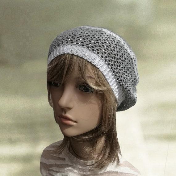 Cotton knit beret Summer lace beret Gray knit beret Knit  37a324915c3