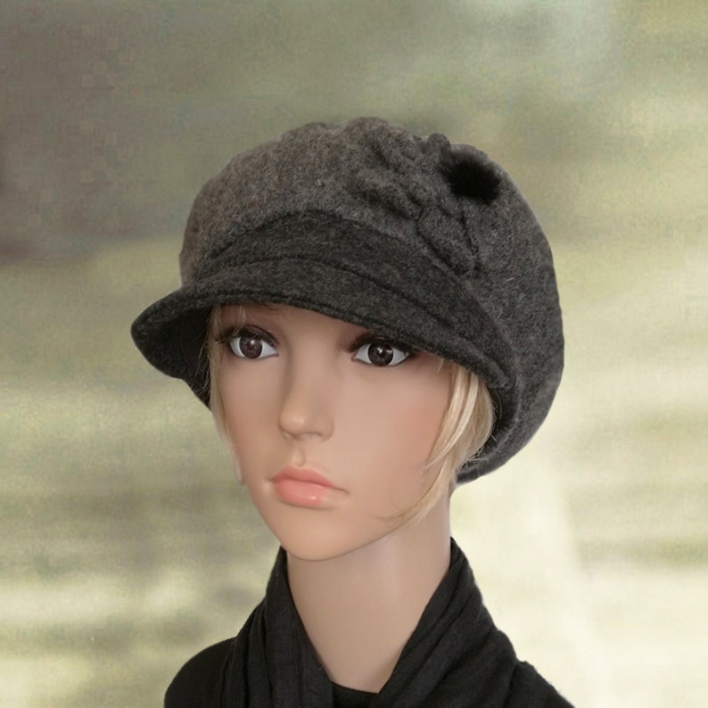 98da6cc84a4 Women cap with visor Womens winter hats Felted wool cap