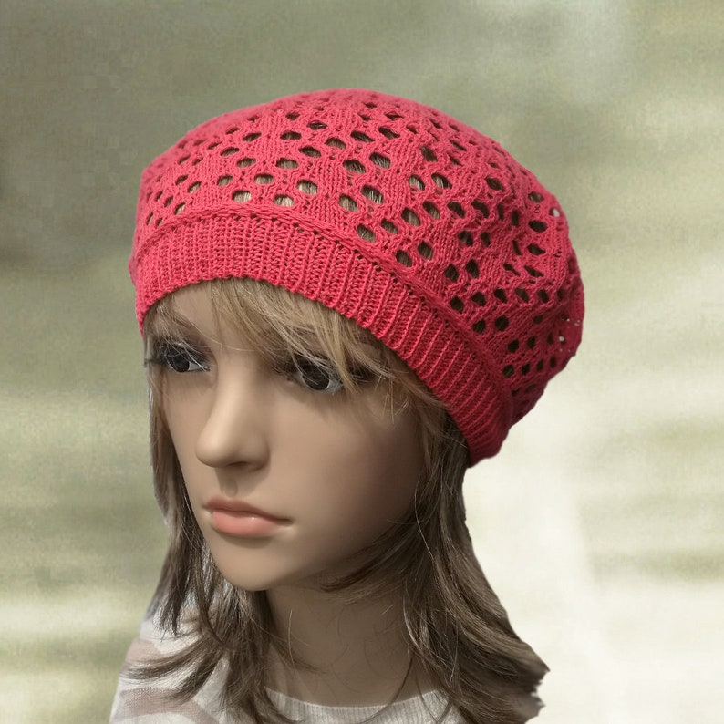 f07191c2a5d Summer knit beret Womens cotton hats Light coral lace hat