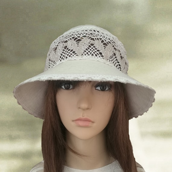 Summer linen hats Womens cotton hats Cotton white hats  7bb6e5d6c7e2