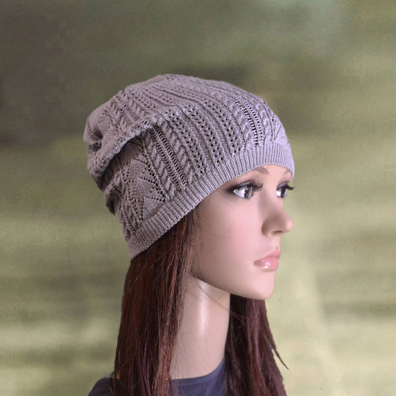 5a5511f4934 Knitted slouchy hat Knit slouch beanie Gray womens hat cap