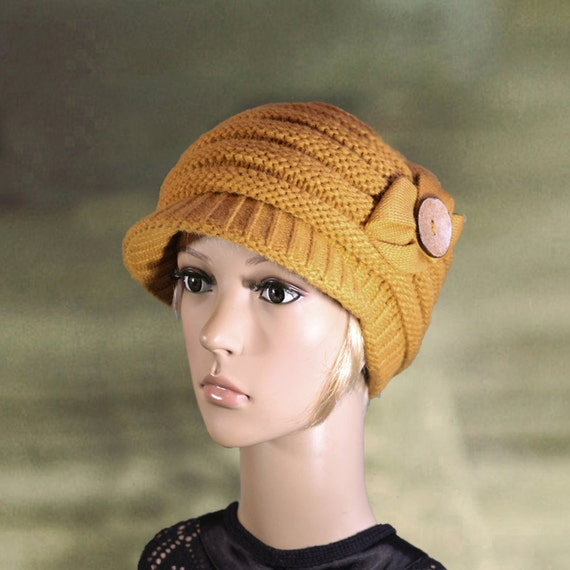 Knit newsboy caps Wool caps with visor Knit hats with visor  b215050293c