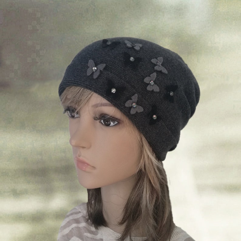 374f77a5aca Black slouchy hats Womens black hats Slouch beanie hat