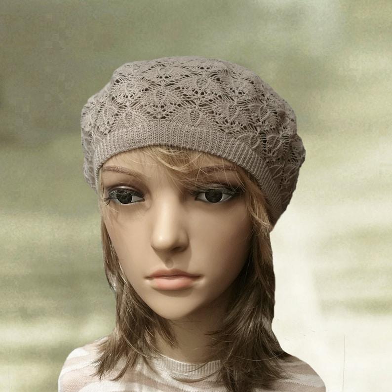 4e0f26e0fc6 Summer beanie beret Tan summer beret Knitted slouch hat