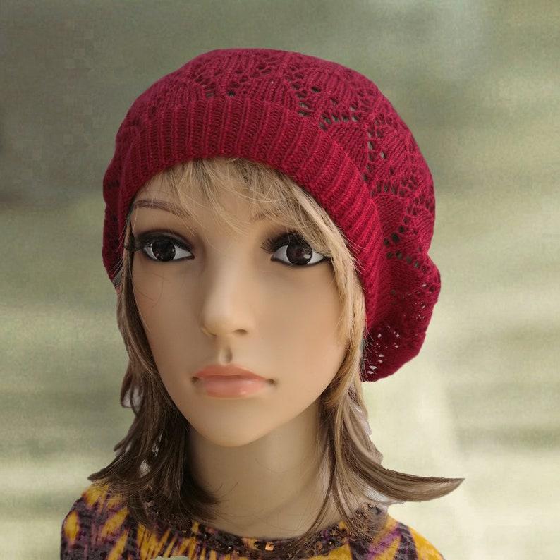 043823853 Summer cotton beret, Knit slouchy beanie, Red knit beret, Summer hats  women, Light weight beret, Lightweight hats, Knitted summer hats