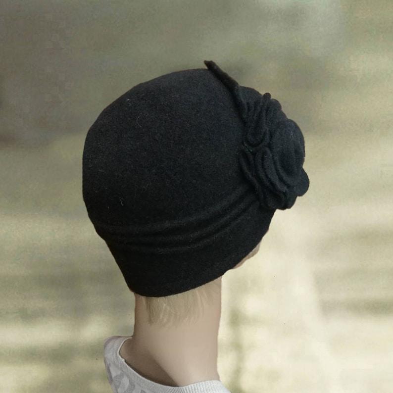 Womens felt hat Ladies felted hat Black hat felt wool  2b56d3cab3