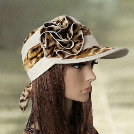 Summer cap visor Linen visor hats Leopard print hat Trendy  63cbb5d8bbf