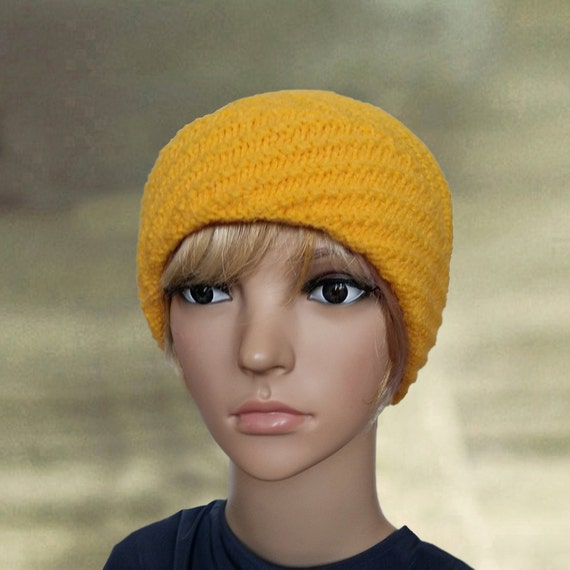 c8e79f38a06 Yellow knit beanie Womens yellow hat Knit hat with cuff