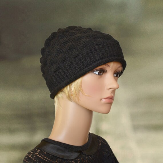 79e7a8372dd Wool winter hats Womens winter hats Black knit beanie Warm