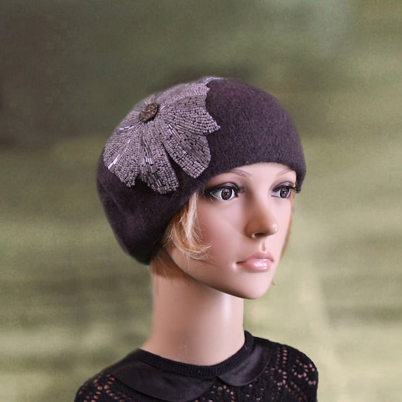 b459868bd48 Felted wool beret Womens felt beret French style beret