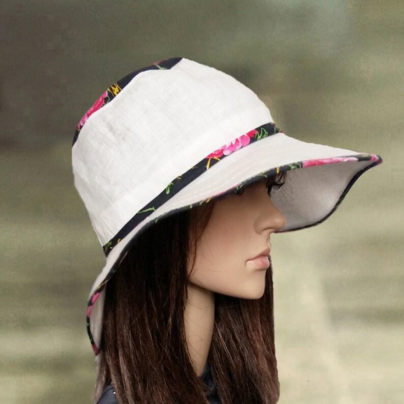 1bd6ff7d429d22 Cotton linen hats Wide brim sun hat Sun hat for lady Large | Etsy