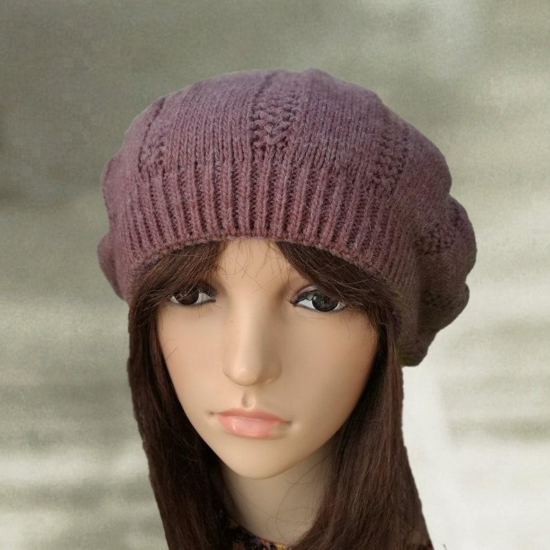 8cca5544fd0e4 Winter knit beret Ladies knit beret Womens winter beret