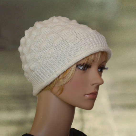 a3e83b7706ca3 Wool winter beanie White wool hat Womens winter hat Boho