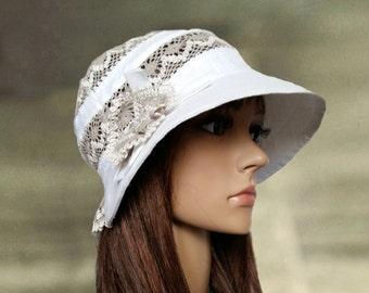 Linen sun hats, Summer womens hats, White cotton hats, Summer hats women, Linen hat for summer, Organic fabric hats, Summer hats lady