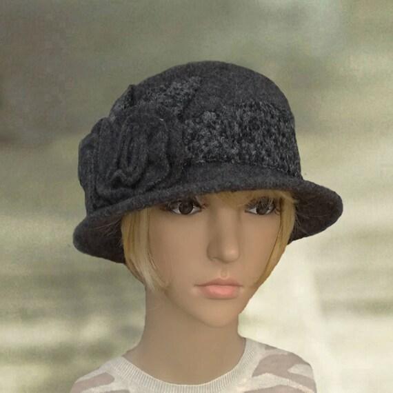 Cray felt hats Felted wool hats Felt womens hat Dark gray  4f25728ba53