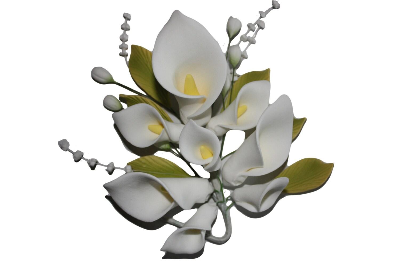 Calla lily sugar flower spray white medium sized bloom etsy zoom izmirmasajfo