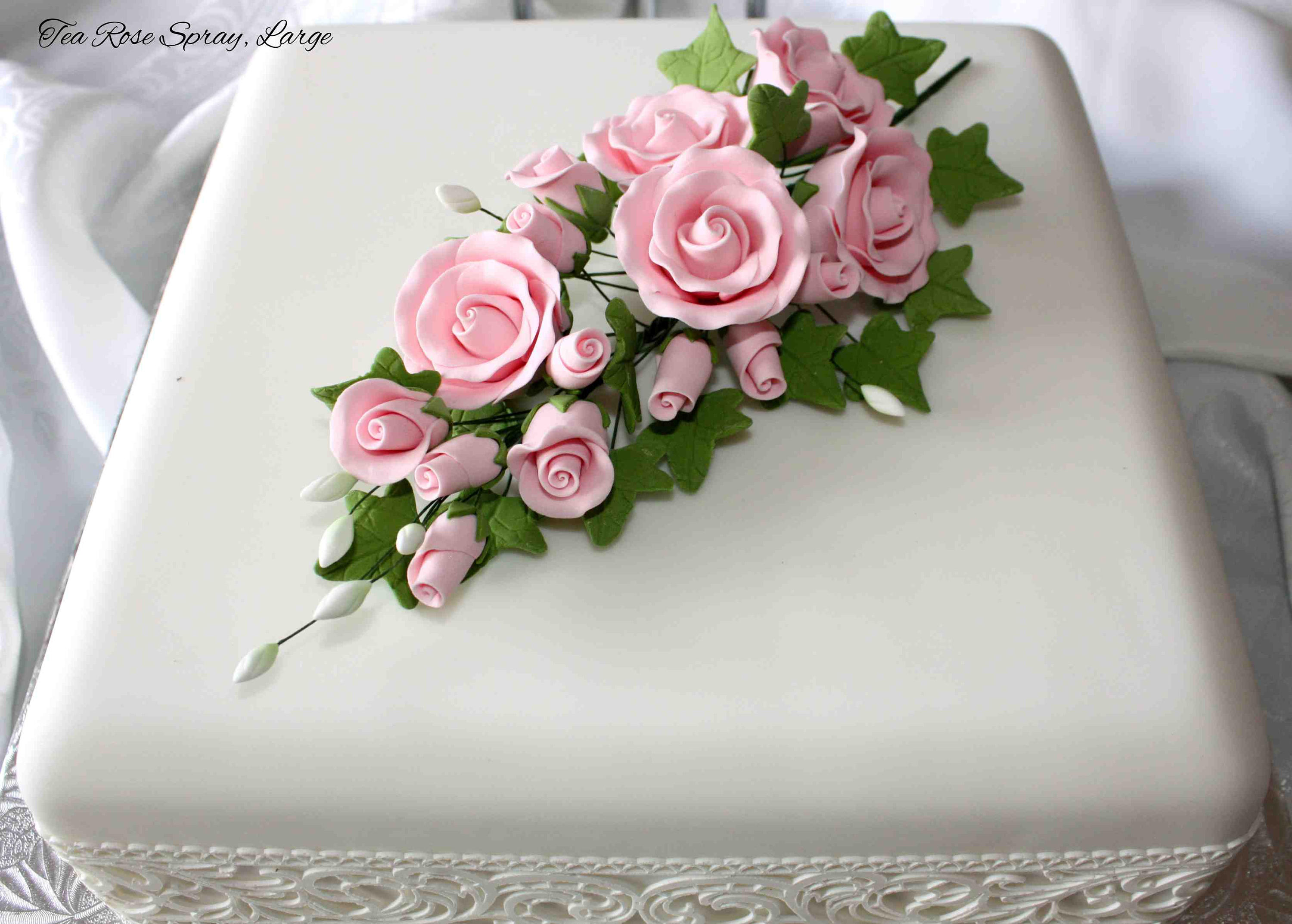 Tea Rose Spray Large Pink Sugar Flowers Cake Topper Etsy