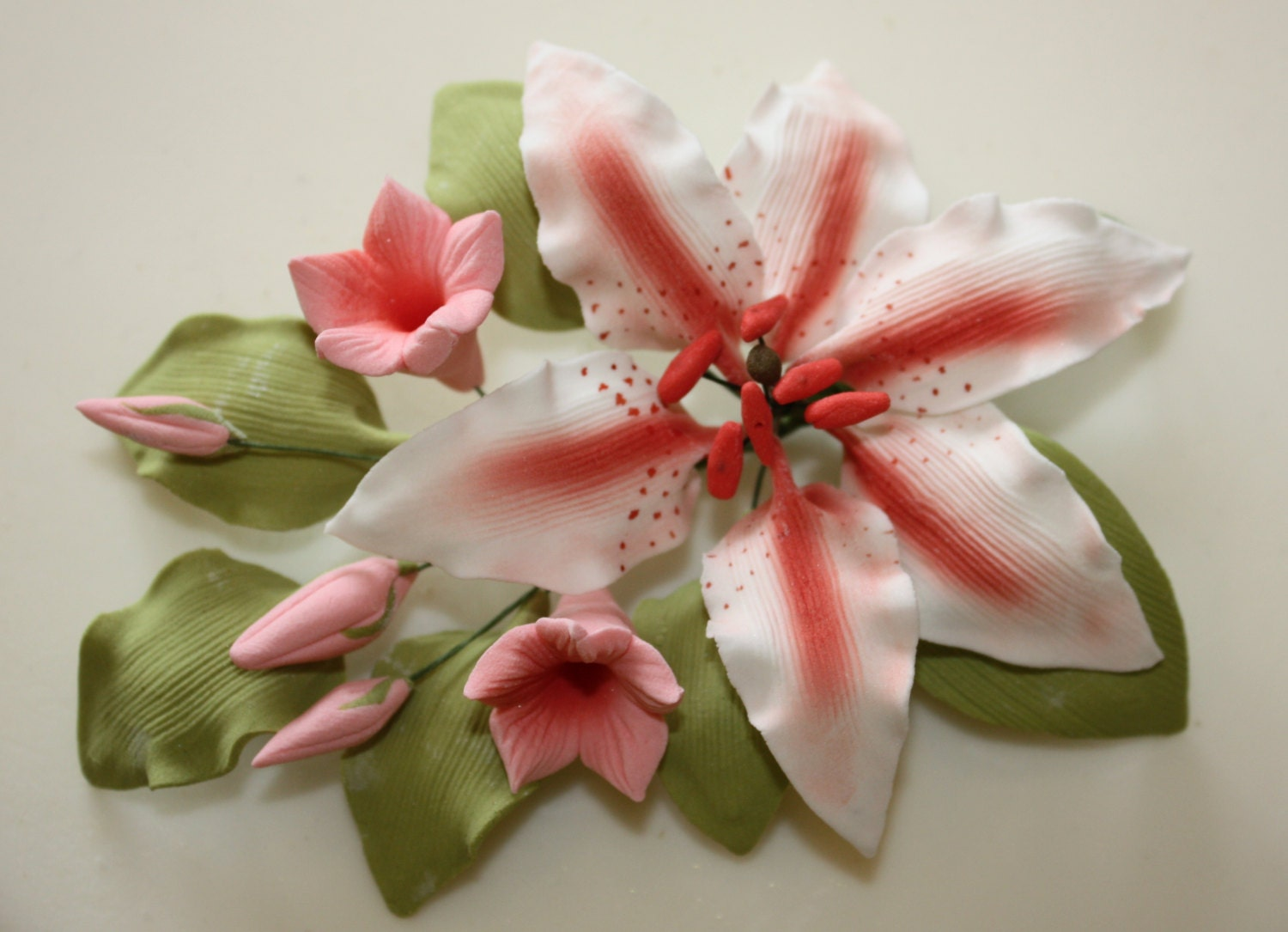 Rubrum pink lily sugar spray 2 sizes available cake topper etsy image 0 izmirmasajfo