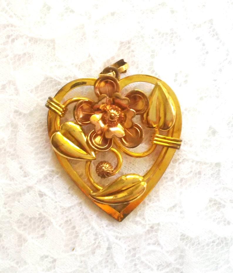 Floral Orange Blossom Design Co Vintage or Antique Heart Pendant Art Deco Style 10K Mult-Tone Gold Fill Signed A.S