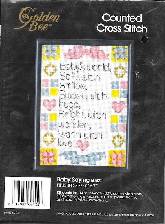50b42a141e88 Counted Cross Stitch Baby Saying Baby s World Golden Bee