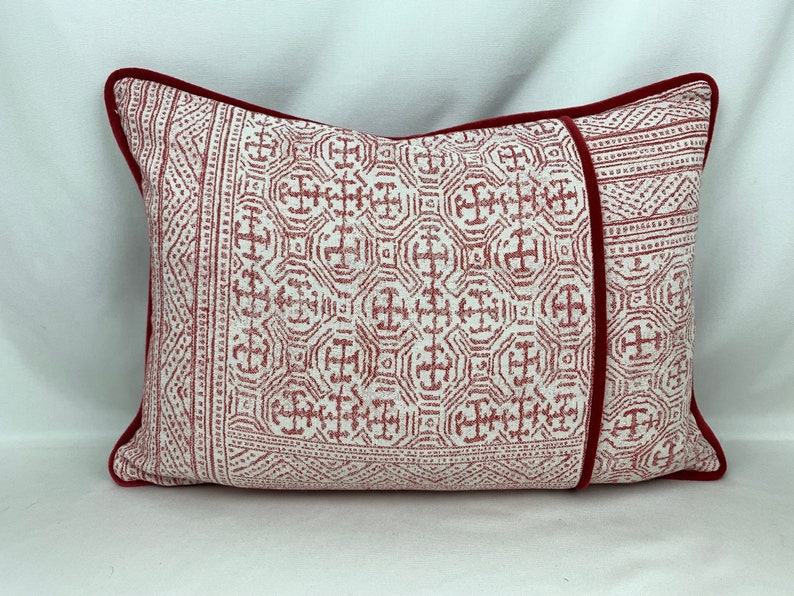 Custom Made Pillow Cover Designed With Thibaut and Red Velvet image 0