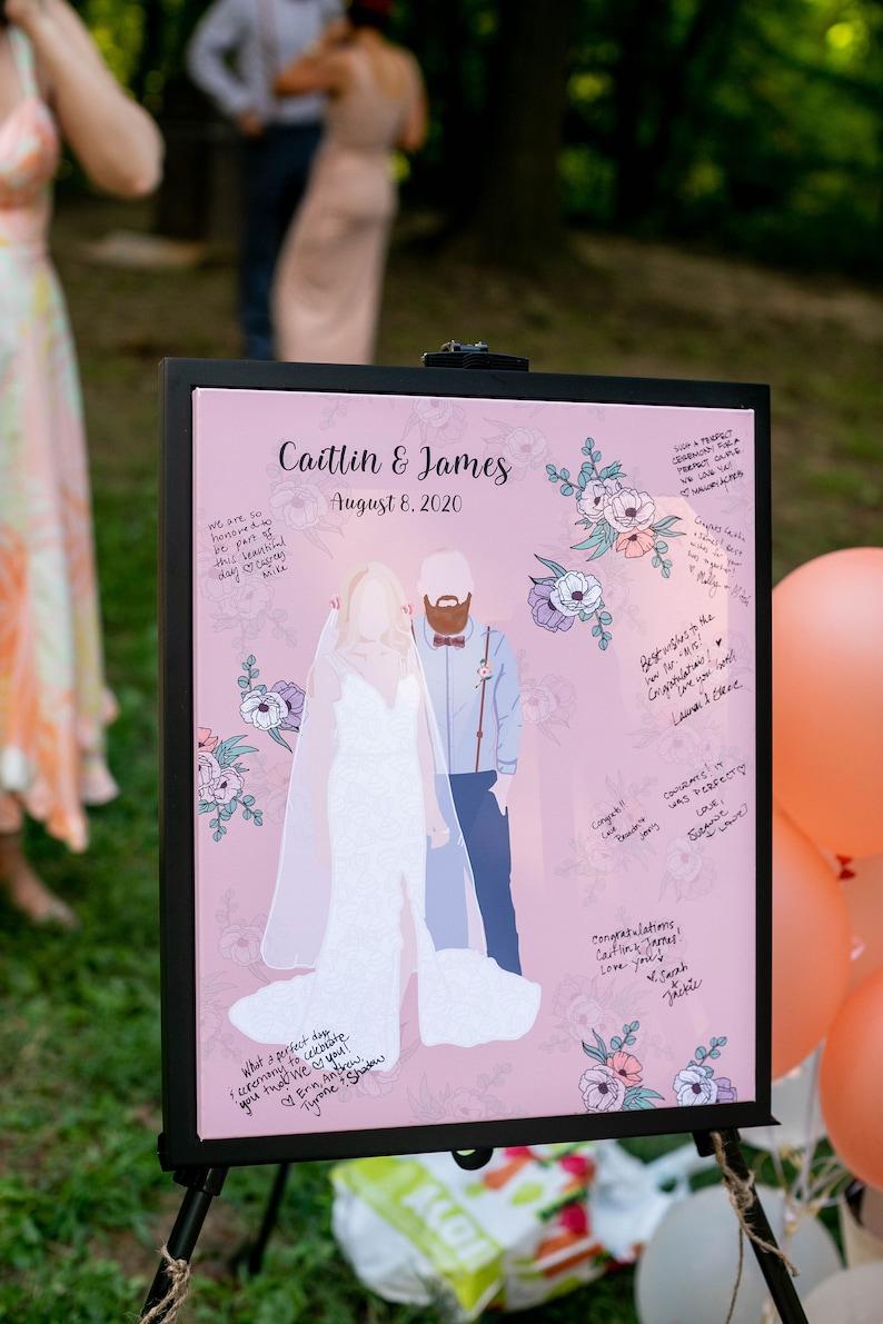 Wedding guestbook alternative Custom Couple Portrait Illustration