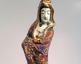 35963f364 Chinese figure, Ceramic Sculpture of a Lady chinese, enameled, asian,  colorful, art, free shipping