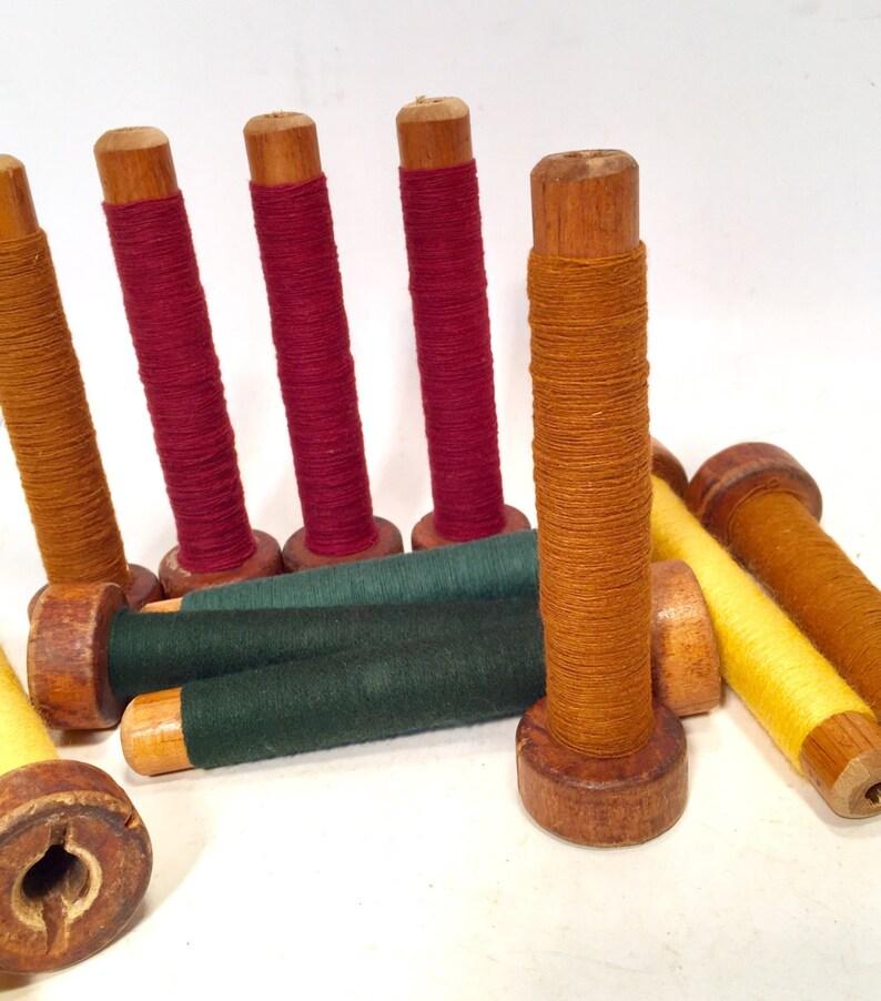 Set of 6 Green Thread Wrapped Wooden Tree Bobbins Textile Bobbins Free Shipping