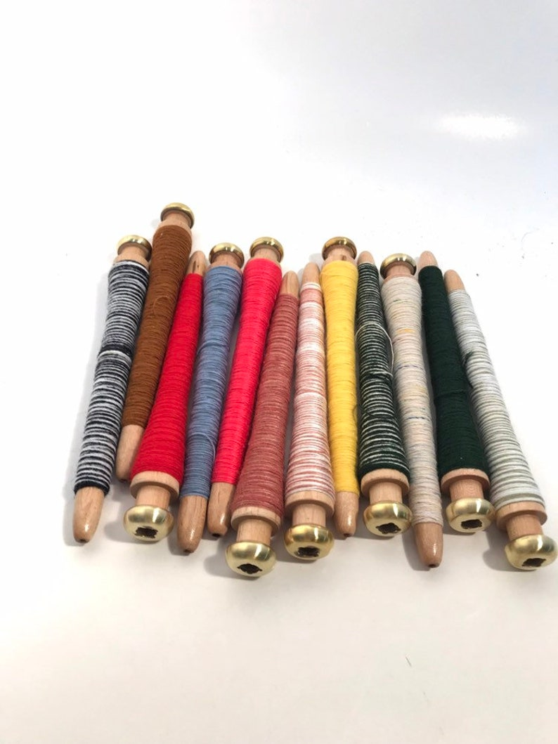 free shipping wrapped threaded Primitive Quills Industrial Spinning Textile lot SHINY BRASS END Spools Bobbins Lot of 12 items