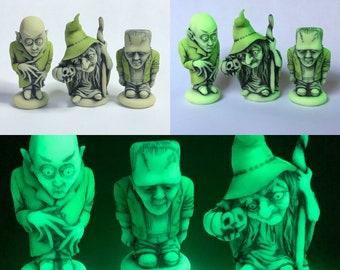 Neil Eyre Eyredesigns Halloween Count Dracula Nosferatu NOS4A2 Frankenstein Witch Pumpkin Glow in Dark Ghouls Single or Set of 3