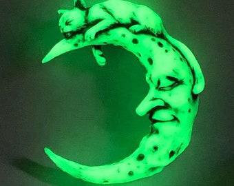 Neil Eyre Eyredesigns Halloween Glow in Dark Cat Moon Magnet Limited Edition handmade USA