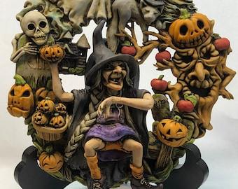 Neil Eyre Artist Eyre Designs Halloween Haunted Wreath Witch Apple Tree Ghost Vampire Bat Skeleton graveyard Display Stand USA MADE