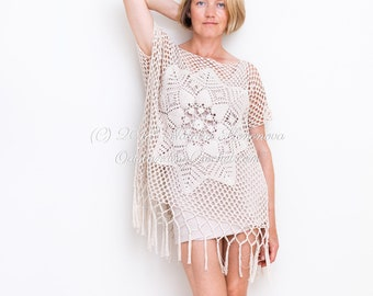 172885d52bf Summer Top Crochet PATTERN Desert, Oversized Off-Shoulder Beach Cover-Up,  Boho Lace Tunic, Graph, Small to Plus Sizes, Step pictures - PDF
