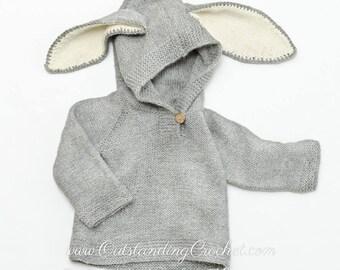 fe99e2980d83 Kids Sweater Knitting PATTERN Bunny Ears Hoodie Baby
