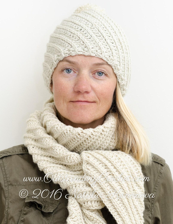 Crochet Hat Pattern Bias Rib Pom Pom Chunky Beanie With Etsy