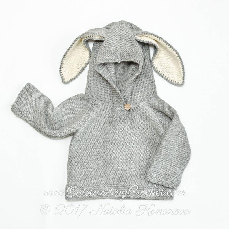 22dc23d8d99c Kids Hoodie Knitting PATTERN Bunny Ears Sweater Baby