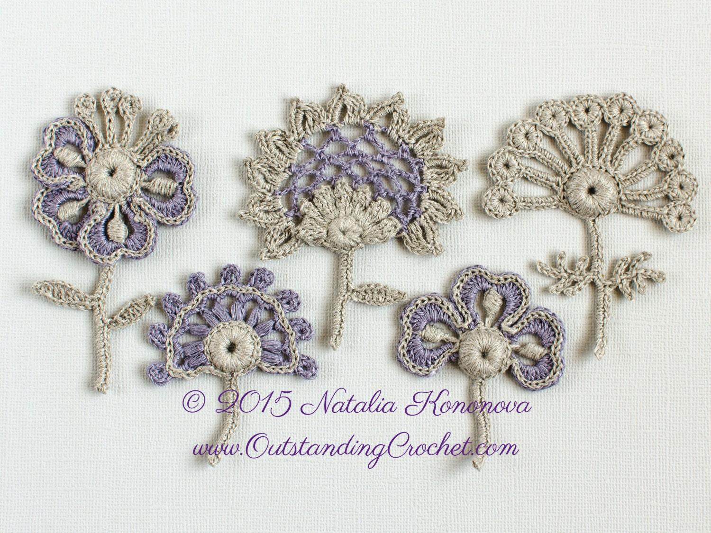 Crochet flower pattern applique flower lace motif set of 5 etsy
