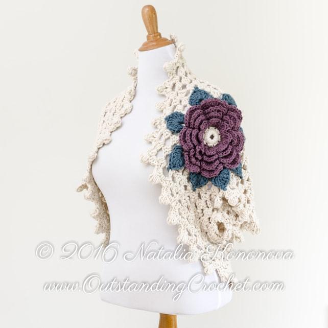Crochet Shrug PATTERN Bolero Cardigan Dark Rose Small | Etsy