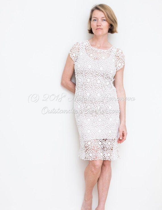 Crochet Dress PATTERN - Serenity - Lace Women Summer, Wedding Dress - Small  to Plus size 4X - Charted, Step Pictured Pattern - digital PDF