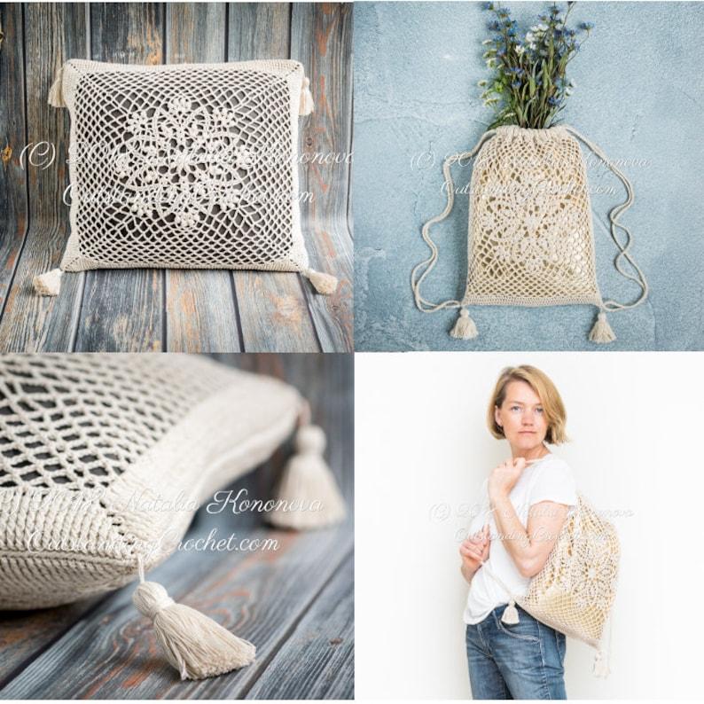 26f149d355 Crochet Drawstring Bag   Throw Pillow Cover PATTERNS Lotus