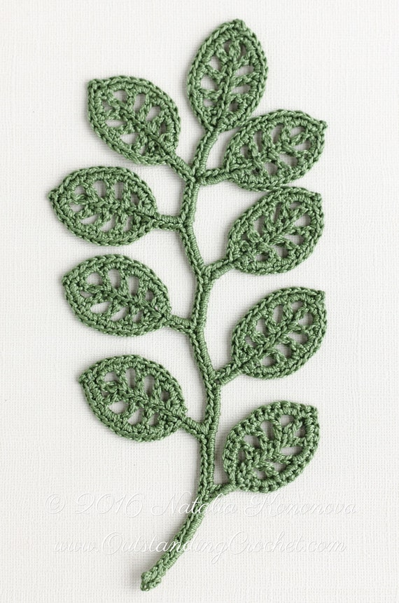 Irish Crochet Applique Pattern Branch Crochet Gift Idea Etsy