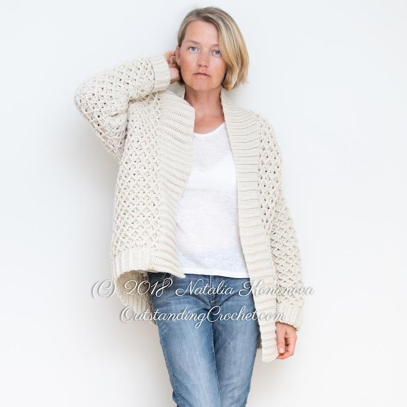 c8bbff6599805 Crochet Cardigan PATTERN Diamond Cable Women Sweater