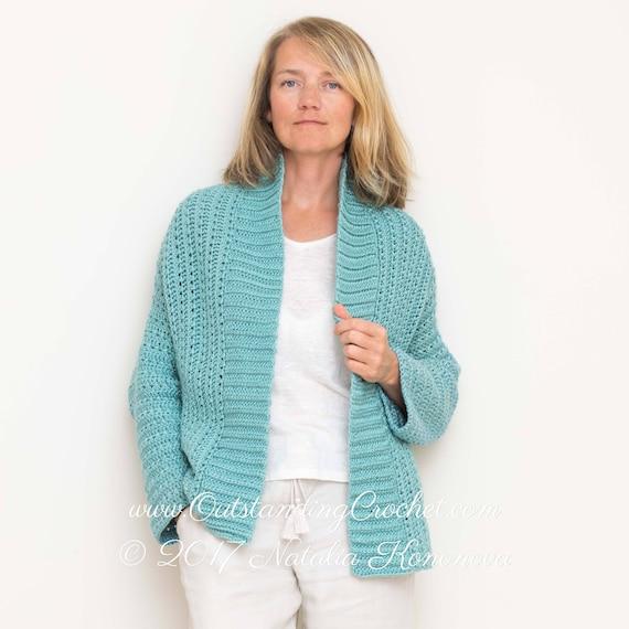 Aquatic Crochet Cardigan Pattern Beginner Easy Pattern Etsy