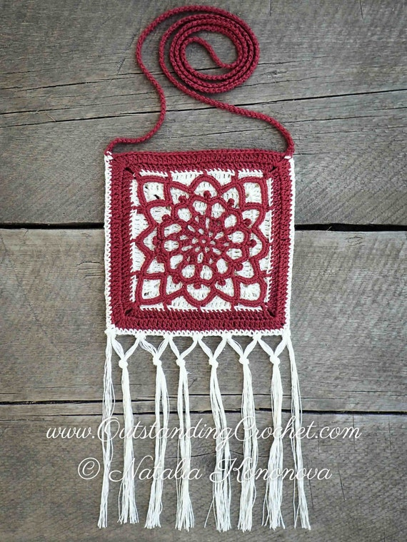 Crochet Potholder PATTERN Sun Motif Crossbody Fringed