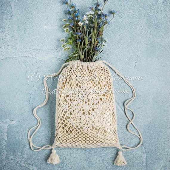 Drawstring Bag Crochet Pattern Lotus Crochet Backpack Etsy