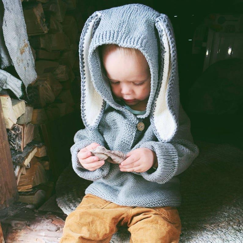 Bunny Ears Sweater Knitting PATTERN  Children Hoodie  Baby image 0